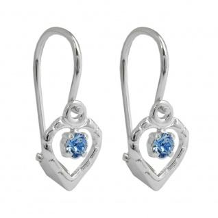 Ohrhaken Ohrringe 15x6mm Herz Glasstein hellblau glänzend Silber 925