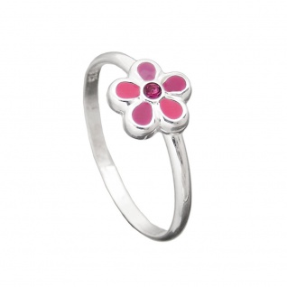 Ring Kinderring mit Blume pink Silber 925 Ringgröße 44