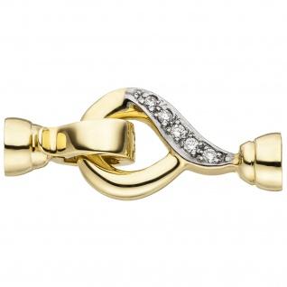 Schließe 585 Gold Gelbgold 10 Diamanten Brillanten Kettenverschluss