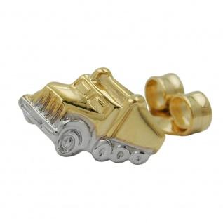 Stecker 7x11mm Truck bicolor 1 Stück 9Kt GOLD