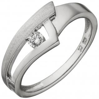 Damen Ring 925 Sterling Silber teil matt 1 Zirkonia Silberring