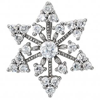 Anhänger Schneeflocke 925 Sterling Silber rhodiniert mit Zirkonia