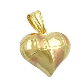 Anhänger 15x16mm Herz bicolor mit Rotgold 9Kt GOLD