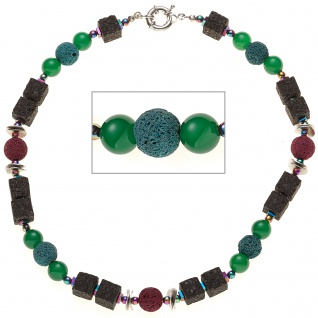 Halskette Edelsteinkette Lava mit Achat und Hämatin bunt 46 cm Kette