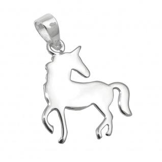 Anhänger 16x14mm Einhorn flach glänzend Silber 925