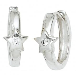 Kinder Creolen Stern Sterne 925 Silber 2 Zirkonia Ohrringe Kinderohrrine