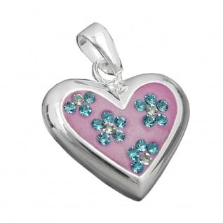Anhänger 19x19mm rosa Herz mit Zirkonias Silber 925