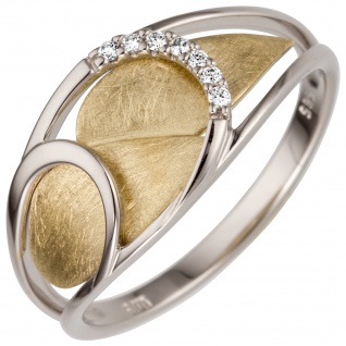 Damen Ring 0, 05 ct 585 Weißgold Gelbgold bicolor 7 Diamanten Brillanten