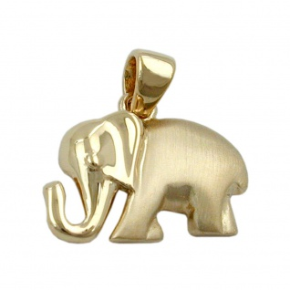 Anhänger 10x15mm Elefant matt-glänzend 9Kt GOLD