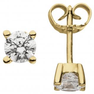 Ohrstecker 585 Gold Gelbgold 2 Diamanten Brillanten 1, 00 ct. Ohrringe