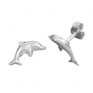 Ohrring Stecker 12x6mm springender Delfin Silber 925