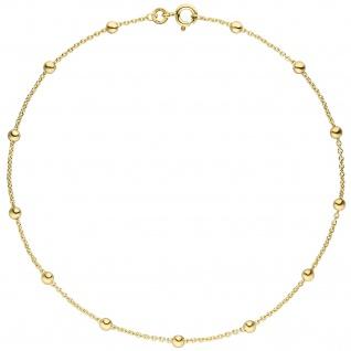 Fußkettchen Fußkette 333 Gold Gelbgold 25 cm Goldkette Federring