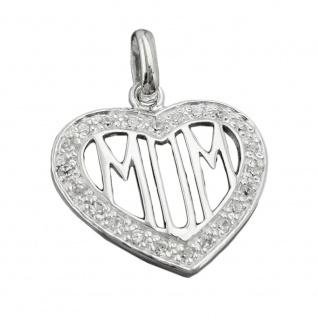 Anhänger 20mm Herz mit vielen Zirkonias und filigraner Inschrift MOM Silber 925