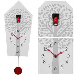 AMS 7286 Kuckucksuhr Wanduhr Quarz mit Pendel rot weiß mit Baum Muster Pendeluhr