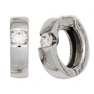Creolen rund 585 Gold Weißgold 2 Diamanten Brillanten 0, 30 ct. Ohrringe