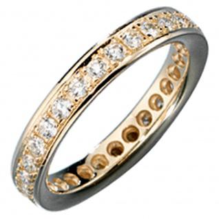 Memory Ring 585 Gold Gelbgold mit Diamanten Brillanten rundum Memoryring