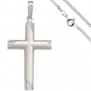 Anhänger Kreuz 925 Silber matt Kreuzanhänger Silberkreuz mit Kette 50 cm
