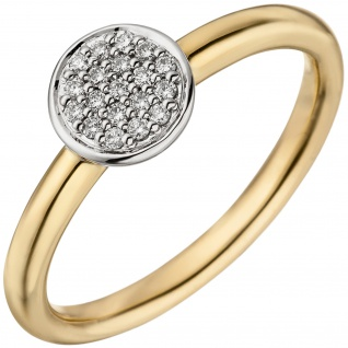 Damen Ring 585 Gold Gelbgold Weißgold bicolor 19 Diamanten Brillanten Goldring