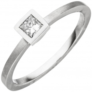 Damen Ring 950 Platin matt 1 Diamant Princess-Schliff 0, 20ct.