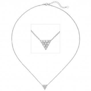 Collier Kette mit Anhänger Dreieck 925 Silber 10 Zirkonia 46 cm Halskette