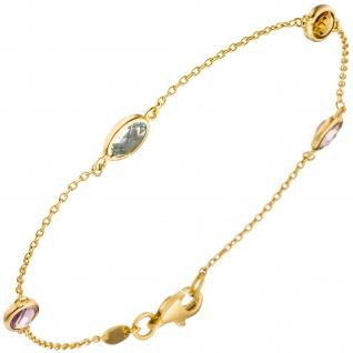 Armband 585 Gold Gelbgold 2 Amethyste 1 Citrin 1 Blautopas Goldarmband