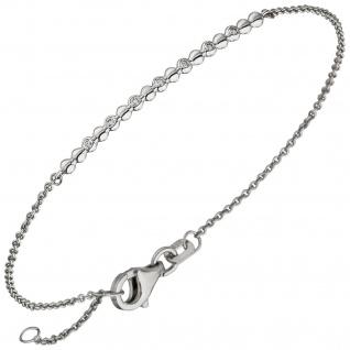 Armband 585 Gold Weißgold 7 Diamanten Brillanten 17, 5 cm Weißgoldarmband