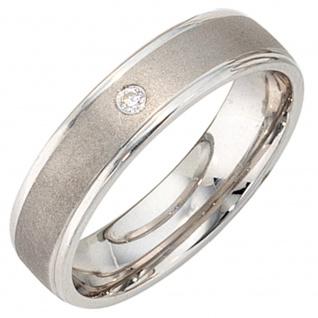 Partner Ring 925 Sterling Silber rhodiniert mattiert 1 Zirkonia Silberring