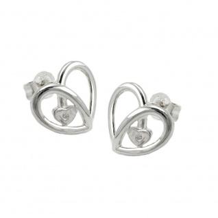 Stecker 14x13mm Herz mit Zirkonia glänzend Silber 925