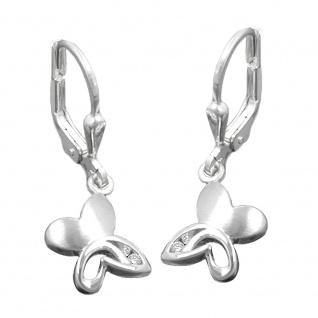 Ohrbrisur Ohrhänger Ohrringe 26x9mm Schmetterling mit Zirkonias matt-glänzend Silber 925