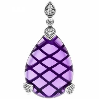 Anhà nger Tropfen 925 Sterling Silber 1 Amethyst lila violett 13 - Vorschau