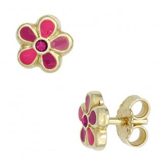 Kinder Ohrstecker Blume rosa pink 333 Gold Gelbgold Ohrringe Kinderohrringe