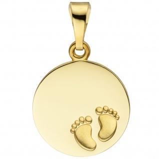Anhänger Babyfüße Gravurplatte 333 Gold Gelbgold teil matt Gravuranhänger