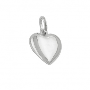 Anhänger 10mm Herz rhodiniert Silber 925