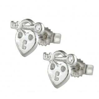 Stecker 9x8mm Herz Schloss und Schlüssel mit Zirkonia glänzend Silber 925