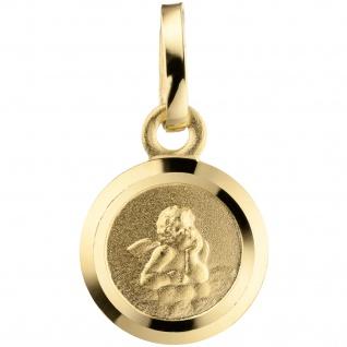 Anhänger Engel Schutzengel 333 Gold teil matt Goldanhänger Schutzangelanhänger