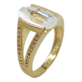 Ring 14x8mm Zirkonia weiß 3 Mikron vergoldet Ringgröße 58