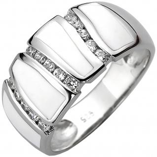 Damen Ring 925 Sterling Silber 15 Zirkonia und weiße Emaille-Einlage