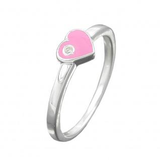 Ring Kinderring mit Herz rosa Silber 925 Ringgröße 46
