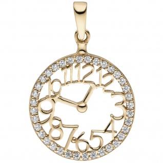 Anhänger Uhr 333 Gold Gelbgold 36 Zirkonia