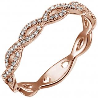 Damen Ring 585 Gold Rotgold 49 Diamanten Brillanten 0, 22ct. Goldring