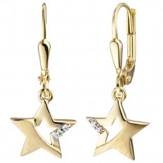 Ohrhänger Stern 333 Gold Gelbgold mattiert 4 Zirkonia Ohrringe Goldohrringe