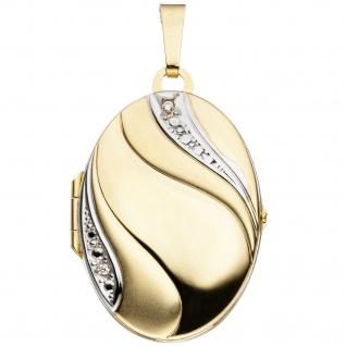 Medaillon oval 333 Gold Gelbgold bicolor mattiert 2 Zirkonia Anhänger zum Öffnen