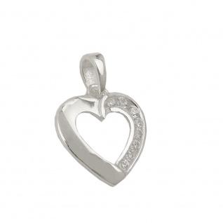 Anhänger 14x14mm Herz mit Zirkonias glänzend Silber 925