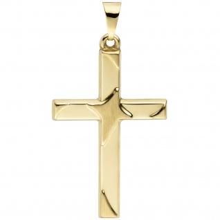 Anhänger Kreuz 375 Gold Gelbgold teil matt Kreuzanhänger Goldkreuz