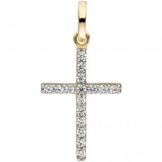 Anhänger Kreuz schmal 375 Gold Gelbgold 16 Zirkonia Kreuzanhänger Goldkreuz