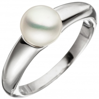 Damen Ring 925 Sterling Silber 1 Süßwasser Perle Perlenring Silberring