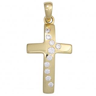 Anhänger Kreuz 333 Gold Gelbgold 10 Zirkonia Kreuzanhänger Goldkreuz
