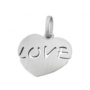 Anhänger18x20, 5mm Herz mit Inschrift - LOVE - mattiert rhodiniert Silber 925