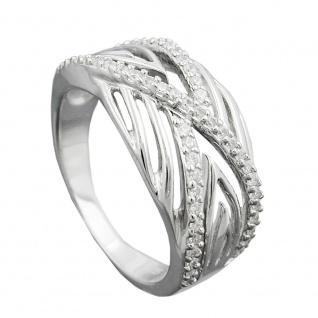 Ring 11mm mit vielen Zirkonias glänzend rhodiniert Silber 925 Ringgröße 58