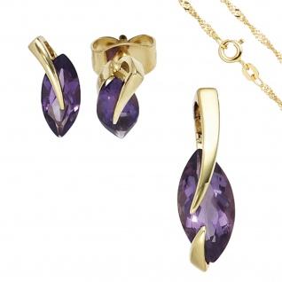 Schmuck-Set 585 Gold Gelbgold 3 Amethyste lila violett Ohrringe und Kette 45 cm